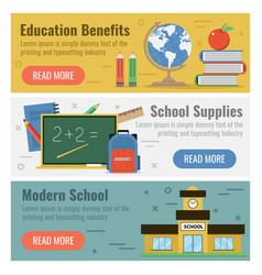 Three banner for education vector