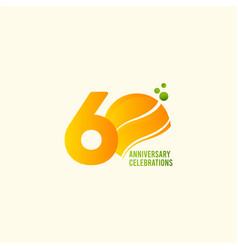 60 years anniversary celebration orange template vector