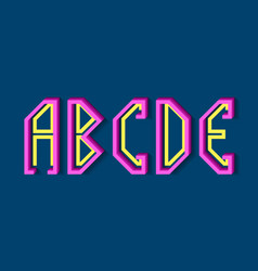 A b c d e pink yellow letters flat vector