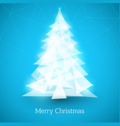 Abstract christmas tree made white triangles vector