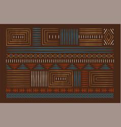 african art line hand drawn tribal decoration set vector image