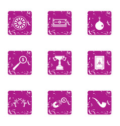 Attract money icons set grunge style vector