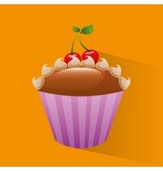 Baked goods sweet cupcake vector