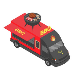 Bbq truck icon isometric style vector