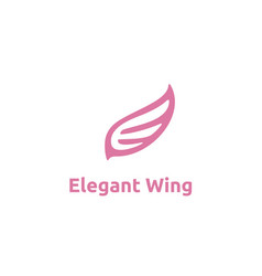 beauty flying bird wings initial letter e logo vector image