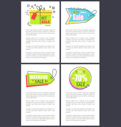 best weekend sale posters set vector image