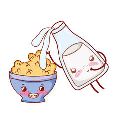breakfast cute milk pouring in cereal bowl kawaii vector image