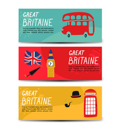 british london symbols banners isolated set vector image