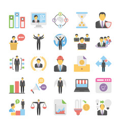 business flat colored icons 10 vector image