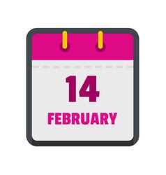 calendar fourteenth february icon flat style vector image