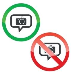 Camera message permission signs vector