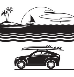 car with surfboards on beach vector image