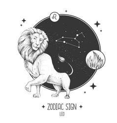 Card with astrology leo zodiac sign vector