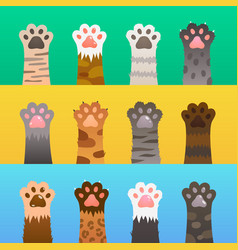 Cats paw flat cat paws claw hand cartoon cute vector