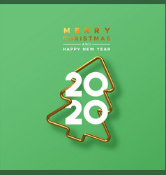 christmas new year 2020 gold 3d pine tree card vector image