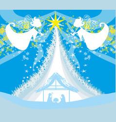Christmas religious nativity scene vector