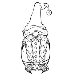 Christmas scandinavian gnome in a hat with a bell vector