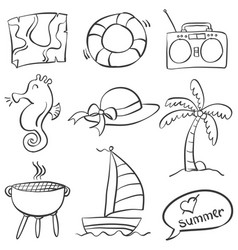 Collection of summer object doodles vector