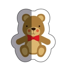 color sticker with teddy bear with bow tie and vector image