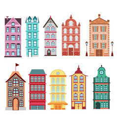 Colorful and bright amsterdam dutch city s houses vector