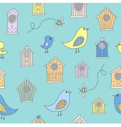 Cute bird houses and birds in a repeating seamless vector image