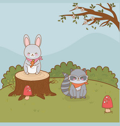 Cute raccoon and rabbit in trunk woodland vector