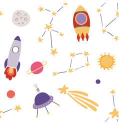 Cute space seamless pattern vector