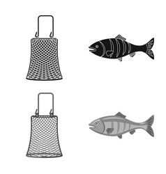 design of fish and fishing sign set of vector image
