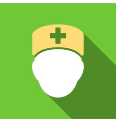 Doctor Head Flat Long Shadow Square Icon vector image
