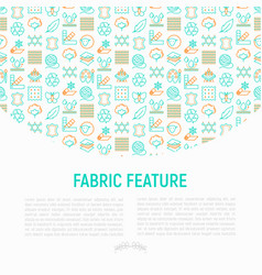 Fabric feature concept with thin line icons vector