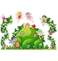Fairy at hill house vector