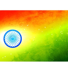 flag of india made in tricolor texture and wheel vector image
