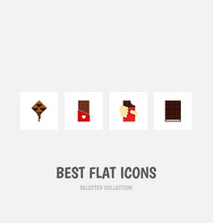 Flat icon sweet set of dessert shaped box vector