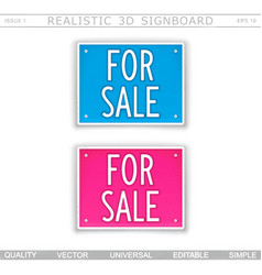 For sale signboard stylized car license plate vector