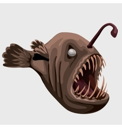 Fossil toothy brown fish lamp image isolated vector