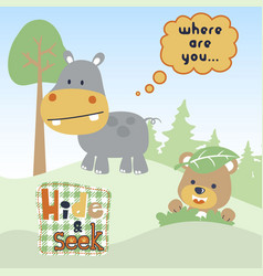Funny cartoon play hide and seek with hippo vector