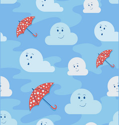 funny clouds and umbrellas vector image