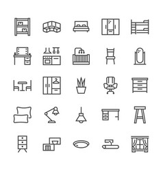 Furniture flat line icons living room vector