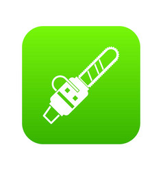 Gasoline powered chainsaw icon digital green vector