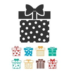 Gift boxes icons set isolated over white vector image