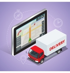 Gps truck geolocation navigation touch screen vector