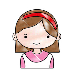 Grated happy girl with hairstyle and headband vector