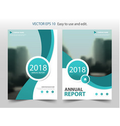 Green curve circle annual report brochure design vector