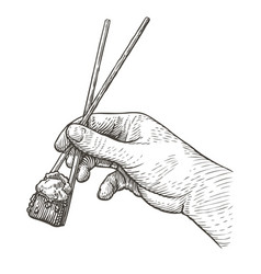 hand holding sushi roll with chopsticks japanese vector image