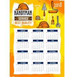 handyman repair service 2018 calendar template vector image