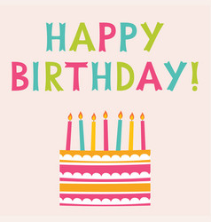 happy birthday greeting card with a cake vector image
