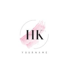 Hk h k watercolor letter logo design vector