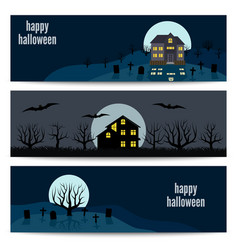 horizontal happy halloween banners vector image