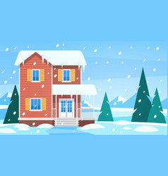 House in winter cottage in snowy landscape vector