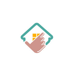 insurance house hand click logo vector image